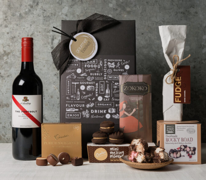 Chocolates and red wine gift basket for gourmet food lovers